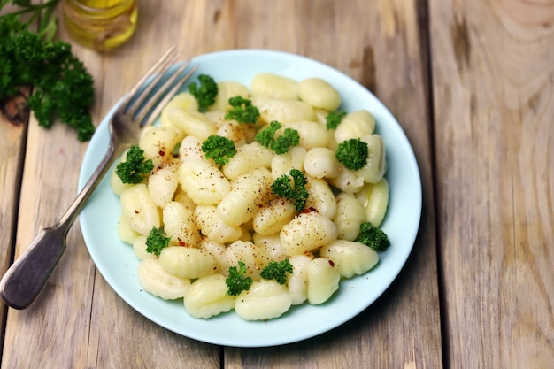 Gnocchi on a plate.