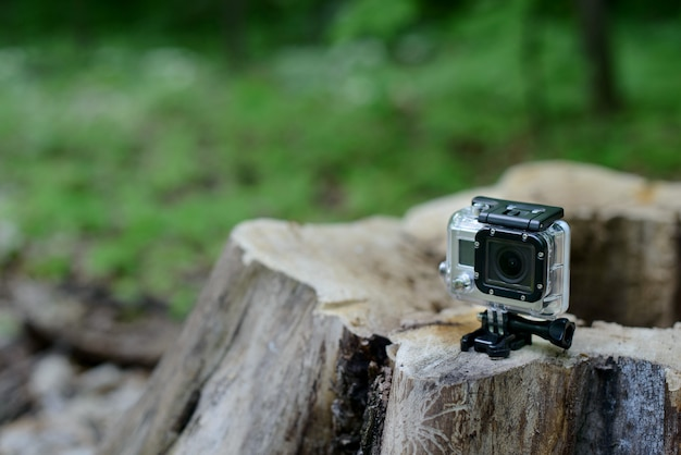 Go pro camera in the forest