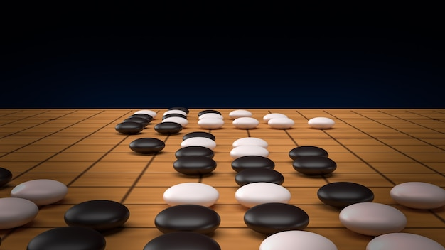 Перейти абстрактная стратегия настольная игра для двух игроков изображения 3d-рендеринга.