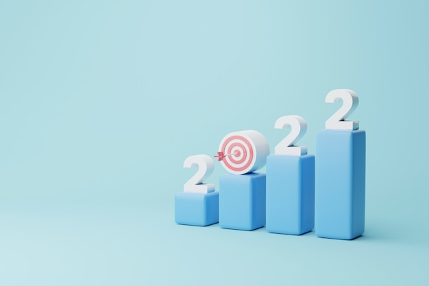 Goal achievement ambition aiming growth to success dartboard and arrow with year 2022 on graph