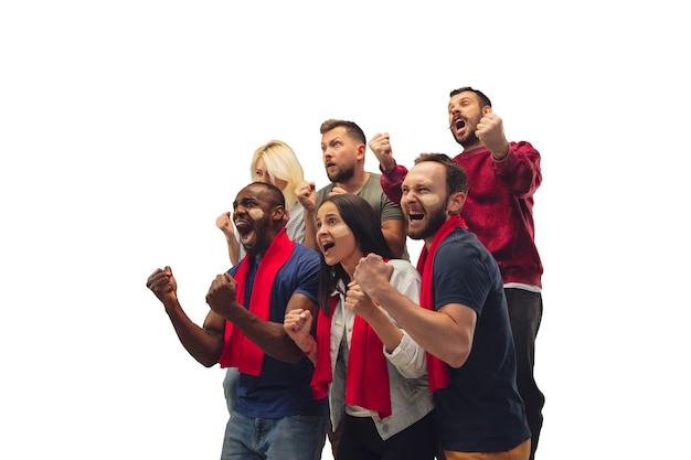 Goal. multiethnic soccer fans cheering for favourite team with bright emotions isolated on white background. beautiful caucasian women look excited, supporting. concept of sport, fun, support.