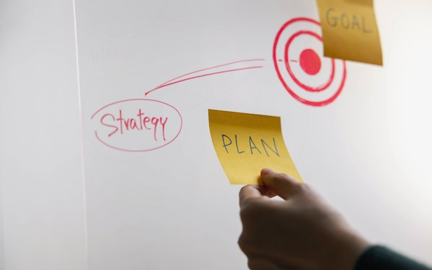 Goal, plan, challenge and strategy concept. person making business plan on sticky note