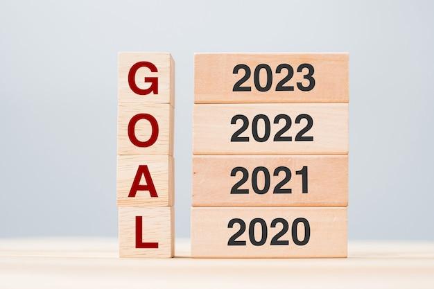 テーブルの背景に2023、2022、2021、2020年の木造ビルディングブロックの目標テキスト。リスク管理、解決策、戦略、ソリューション、新年の新しいあなたと幸せな休日の概念