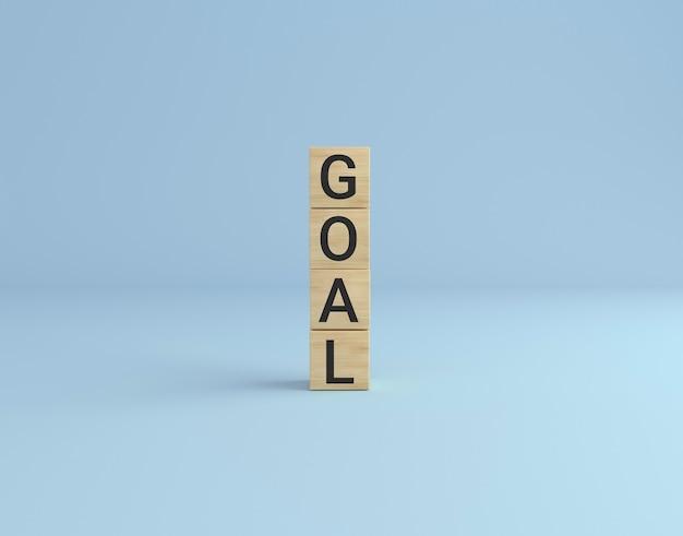 Слово цели сделано с деревянной башней блоков куба. бизнес-концепция.
