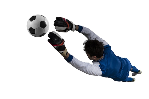 Goalkeeper catches the ball in the stadium during a football game. isolated on white background