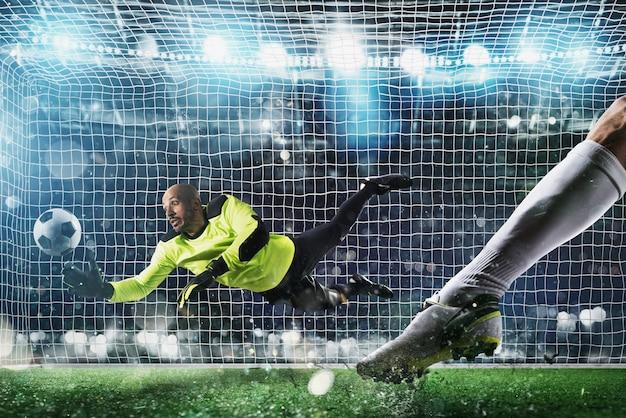 Вратарь ловит мяч на стадионе во время футбольного матча.