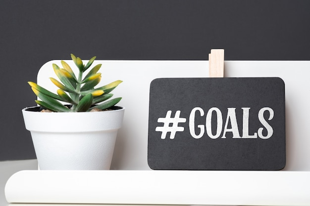 Goals on blackboard on pencil box and green plant in white pot on table