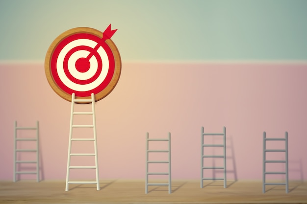 Goals concept: longest white ladder and aiming high to goal target among other short ladders, depicts excellent performance and stands out from the crowd and thinks differently.