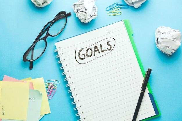 Goals text on notepad