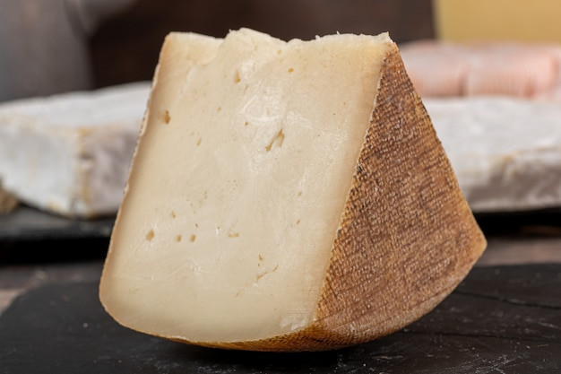 Goat cheese tomme or tome, produced in french pyrenees
