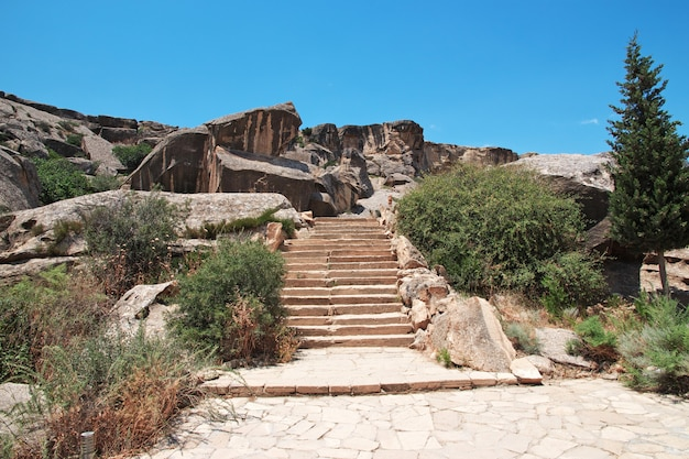 Gobustan is park of petroglyphs in azerbaijan
