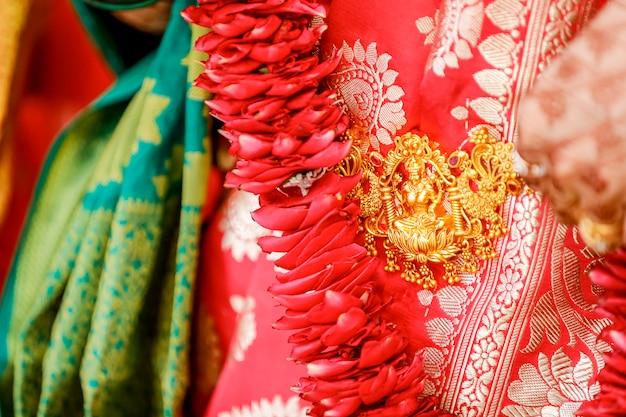 ゴールドネックレスデザインの女神ラクシュミ