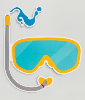 Goggles for diving isolated on background Free Photo