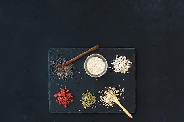 Goji berries, chia, mung beans, buckwheat, quinoa and sunflower seeds