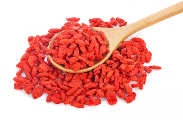 Goji berries isolated on white background