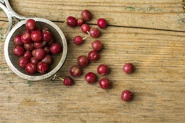 Goji berries on vintage plate