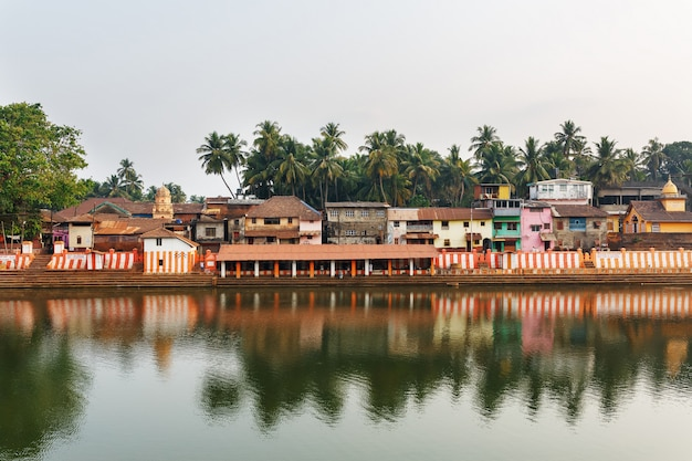 Gokarna, india - march 2019: beautiful indian houses on the sacred lake koti teertha in the center of gokarna