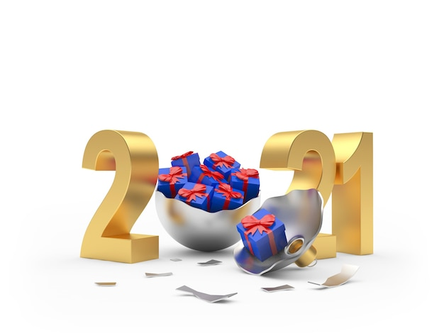 Золотой 2021 и серебряный сломанный елочный шар с синими подарочными коробками