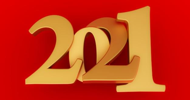 Золотой новый год 2021, изолированные на красном
