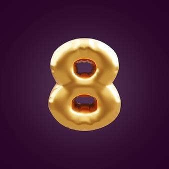 ゴールドの3dナンバー8のイラスト。 3d番号8ホイルゴールドバルーンイラスト。 3dゴールデンナンバー8イラスト