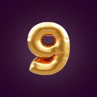 ゴールドの3dナンバーナインイラスト。 3d番号9ホイルゴールドバルーンイラスト。 3dゴールデンナンバー9イラスト