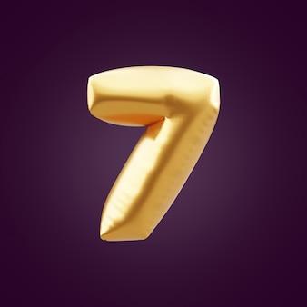 ゴールドの3dナンバー7のイラスト。 3d番号7ホイルゴールドバルーンイラスト。 3dゴールデンナンバー7イラスト