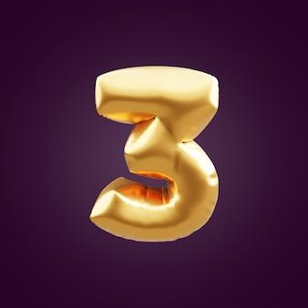 ゴールドの3dナンバー3のイラスト。 3dナンバー3ホイルゴールドバルーンイラスト。 3dゴールデンナンバー3イラスト