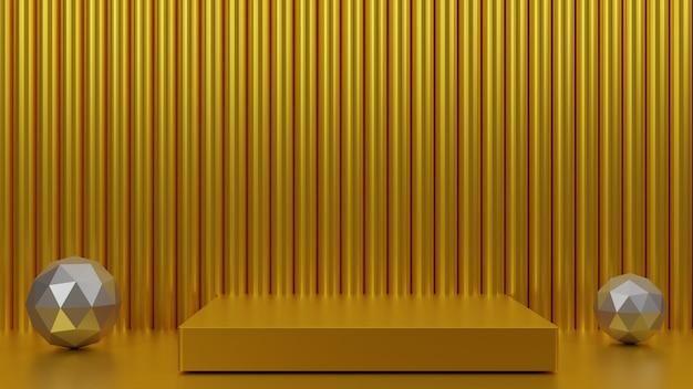 Gold 3d render design for product presentation