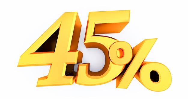 골드 45 % 흰색 배경에 고립, 황금 45 %