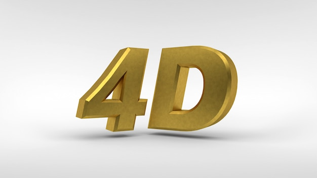 Gold 4d logo isolated on white  with reflection effect