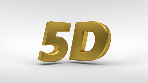 Gold 5d logo isolated on white  with reflection effect