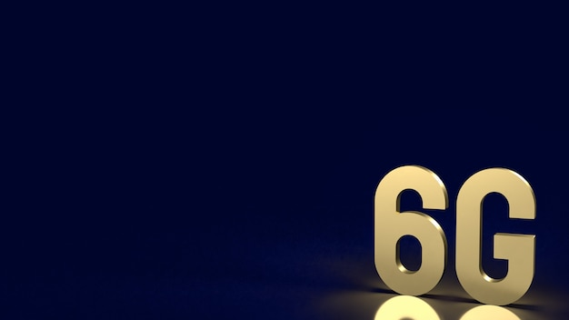 The gold 6g on black background for technology  concept 3d rendering