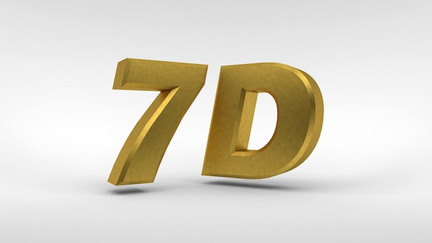 Gold 7d logo isolated on white surface with reflection effect