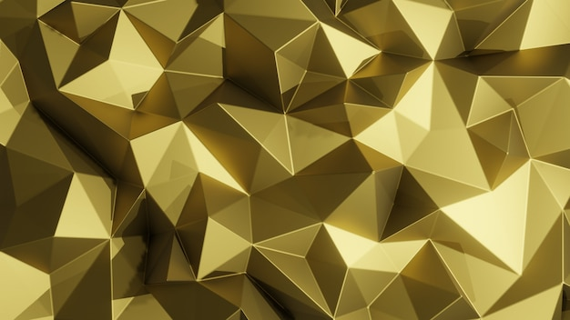 Gold abstract low poly background.