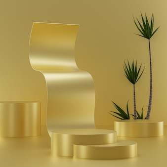Gold abstract podium on a gold background for product placement with tropical trees 3d render