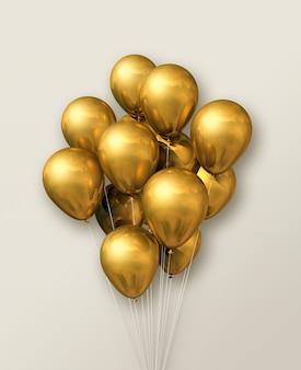 Группа золотых воздушных шаров на бежевом фоне стены. 3d визуализация иллюстрации