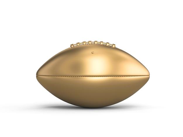Золотой американский футбольный мяч на белом