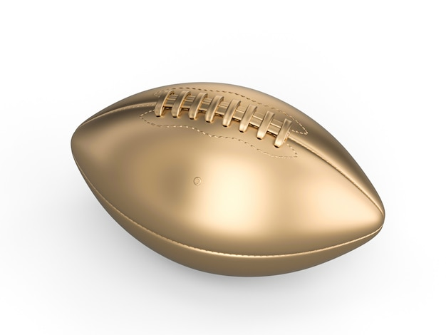 Gold american football ball on white