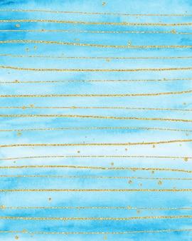 Золотой и синий акварельный фон