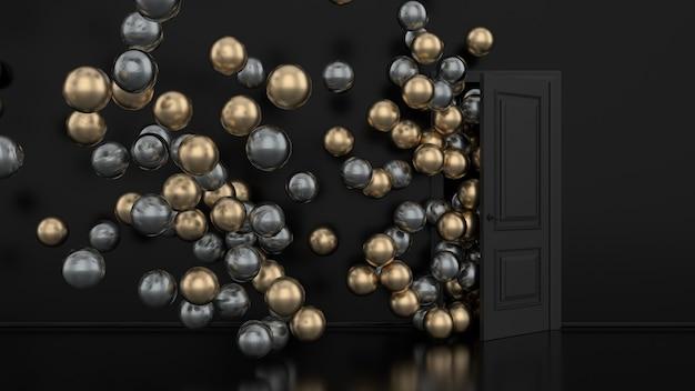 Золотые и металлические шары улетают через открытую дверь в интерьере офиса