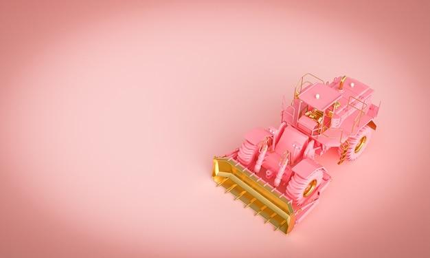 ピンクの背景にゴールドとピンクのブルドーザー。 3dレンダリング。