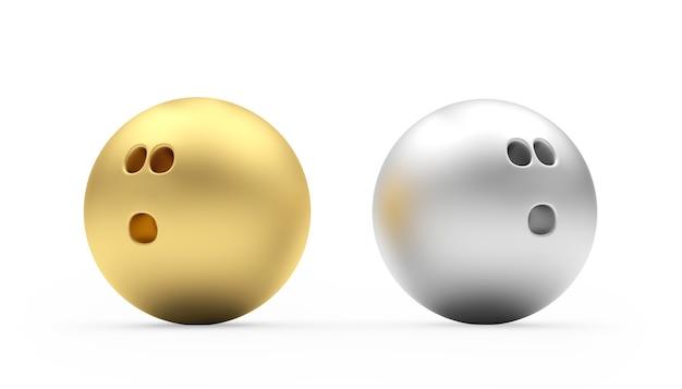金と銀のボウリングボール