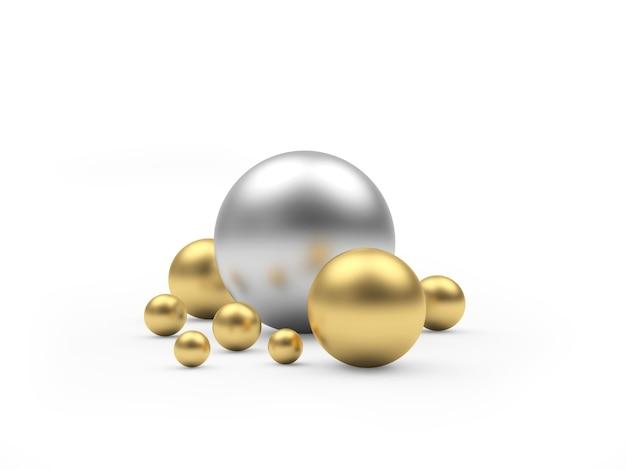 さまざまなサイズの金と銀の球