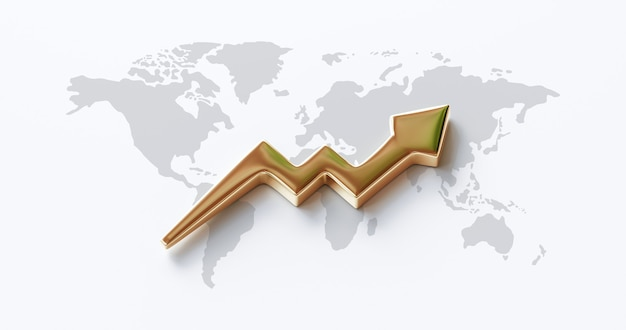 Gold arrow chart of global business and world market stock finance or golden financial money investing graph on success profit concept background with wealth economy graphic symbol. 3d rendering.