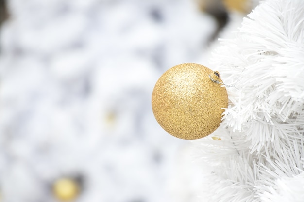 Gold ball on white branch of chrismas tree background
