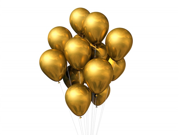 Gold balloons isolated