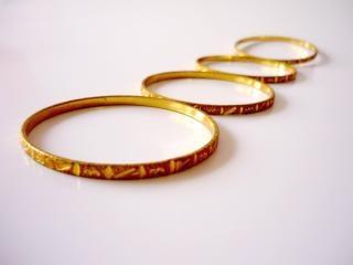 Gold bangles, bangles, rings