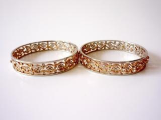 Gold bangles, shiny