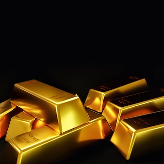 Gold bar ingot on a black in stock market.