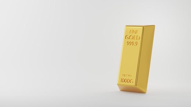金の棒または金のレンガインゴット3dレンダリングイラスト